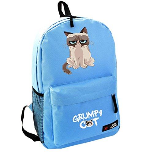 Dailygocn Niedlich Katze Schüler Rucksack Gedruckt Nylon Schultertasche Karikatur Schulranzen Büchertasche für Teenagers Geschenk