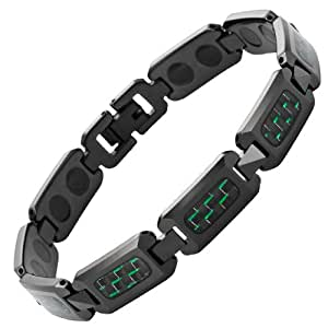 Willis Judd Mens Black Polished Tungsten Magnetic Bracelet With Green Carbon Fibre In Free Black Gift Box And Free Link Removal Tool