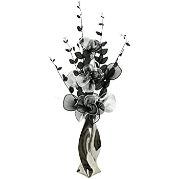 Silver vase with black and white artificial flowers ornaments for silver vase with black and white artificial flowers ornaments for living room window sill mightylinksfo