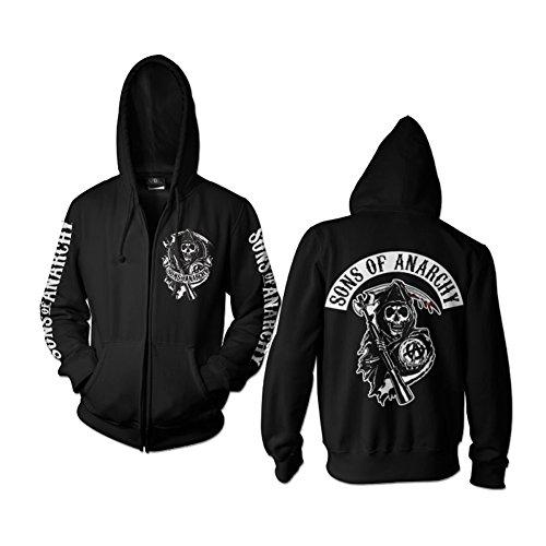 SOA Rückenaufnäher Reißverschluss Kapuze - - Sweatshirts Jax Of Anarchy Sons