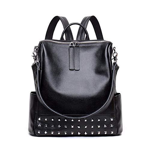 Shisky Damen Lederrucksack, Leder weibliche Persönlichkeit niet Kuh Tasche Mode Rucksack