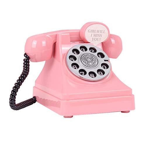 STOBOK Neuheit Sparschwein Retro Telefon Münzen Bank Spielzeug lustige Sparen Topf Geld Halter für Kinder Erwachsene (Pink)