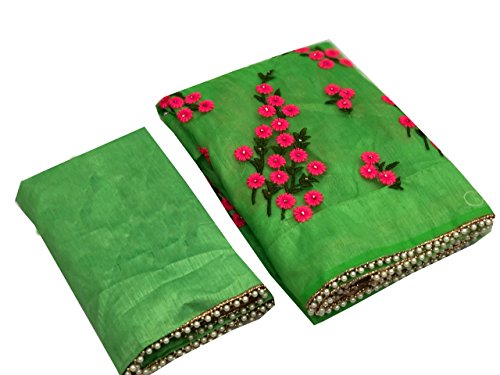 Orangesell Women\'s Mono net Embroidery work Saree With Blouse Piece{green}