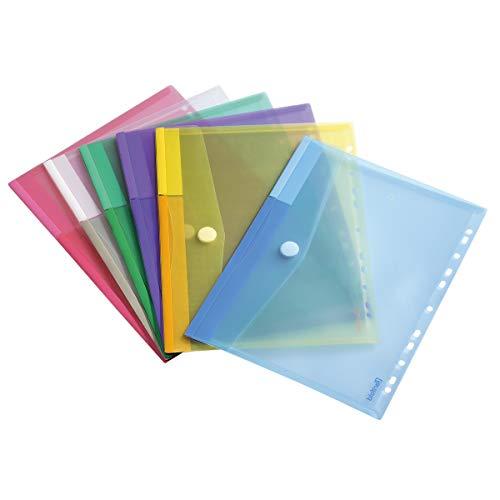 Tarifold Dokumententasche / Sammeltasche Din A4 mit Klettverschluss & Universallochung - 12 Stk. in 6 Farben (Blau, Gelb, Lila, Grün, Transparent & Rosa) - 510229