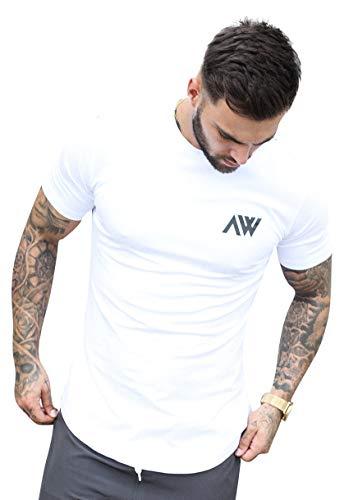 Aspire Wear Core T-Shirt, Muscle Fit, bequem, Stretch, ideal für Fitness-Training oder Freizeit. Gr. L, weiß