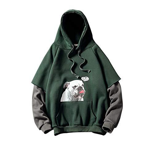 Herren Hoodie,TWBB Kapuzenpullover Mit Tasche Lange Ärmel Sweatshirt Gefälschte Zweiteiler Pullover Mantel Outwear Sweatjacke Hemd