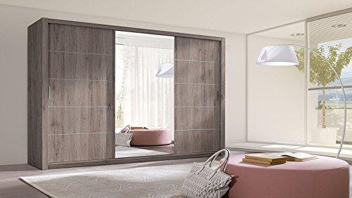 Schiebetürenschrank BERRA Schrank Spiegel Möbel Kleiderschrank Modernes Design Schiebetüren Schlafzimmer Kinderzimmer Jugendzimmer Matt San Remo (dunkel) (Korpus: matt san remo (dunkel) / Front: matt san remo (dunkel))