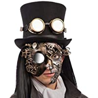 Carnival Toys - Máscara steampunk de plástico duro dorado media cara con espejo, multicolor (