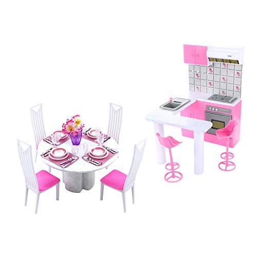 CUTICATE 2 Sets Mobilier de Cuisine pour Maison de Poupée 1/6 - Table, Chaise, Vaisselle