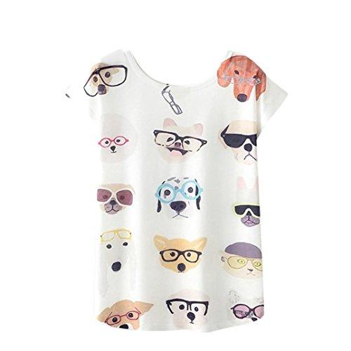 QinMM Camiseta Tops Estampada Mascotas Mujer