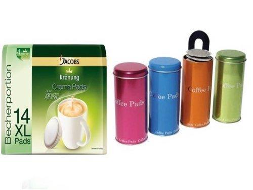 Jacobs Krönung Kaffeepads, 14 XL Becher-Pads + James Premium Metallic Dosen mit Padheber ideal auch...