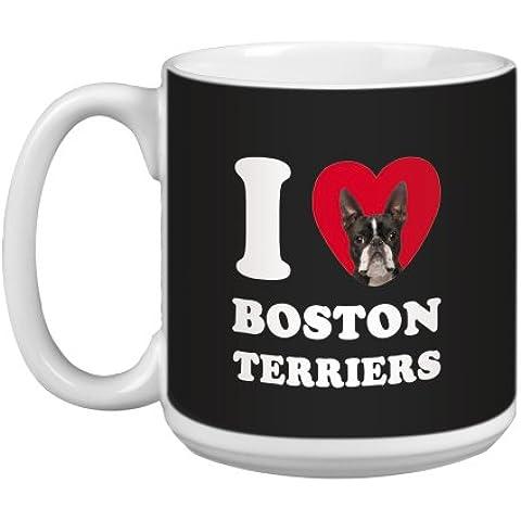 Árbol de-free Tarjeta de felicitación de 20 oz de conejos y corazones de Boston Terriers papero taza grande