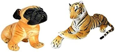 VRV Soft Pug Dog 25cm and Yellow Tiger 40cm size