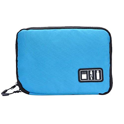 Make-up-bank (Electronic Organizer Tasche, zdmathe Kleine Reise Elektronik Kabel Organizer Tasche für USB-Kabel, SD-Karte, Festplatte, Power Bank, DIGITAL KAMERA, iPad Mini, Mini Tablet und mehr, blau)