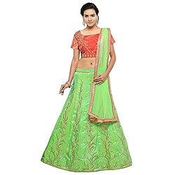 Styles Closet Tassar Silk Lehenga Choli (BND-7178_Green_Free Size )