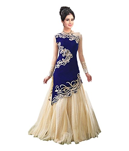 Clothfab Women's Net Long Cholis Lehenga Choli (Blue Colour)