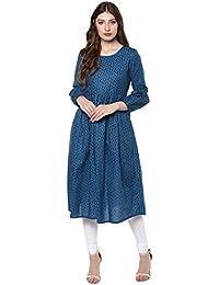 [Sponsored]Janasya Women's Light Blue Cotton Anarkali Floral Print Kurta