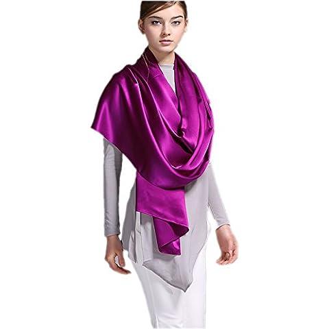Prettystern - 200 x 70cm seda pesada largo pañuelo de seda llano del satén de crepe de color sólido - muchos colores
