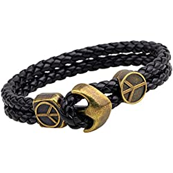 Young & Forever Mentastic Antique Anchor Black Genuine Leather Metal Multi-Strand Bracelet For Men (B548) (Anchor - Peace)