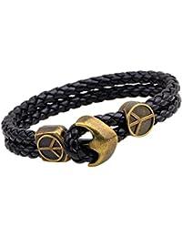 Young & Forever valentine gifts special MenTastic Uber Stylish Antique Anchor Black Genuine Leather|Metal Wrist band bracelet for Men/Boys (B548)
