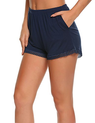 UNIbelle Baumwolle Hosen Kurz Damen Sommer Nacht Hose Short Shorts Navy Blau XXL