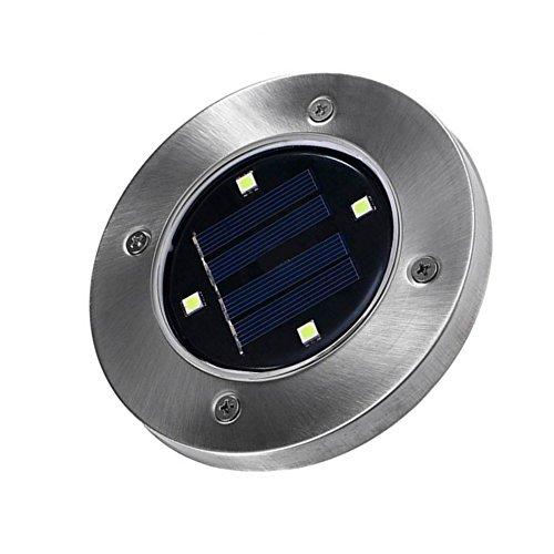 Solarbetriebene Bodenleuchten, YooGer 4 LED Solar Weg Lichter im Freien, Garten Landschaft Cool White Beleuchtung für Yard Driveway Lawn Pathway Gehweg Disk Lichter (Gartendeko Im Freien)