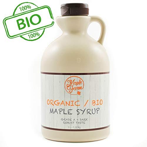 Jarabe de arce BIO - Grado A (Dark, Robust taste) - 1 litro (1,35 Kg) - Miel de arce biológico - Sirope de arce - Organic maple syrup
