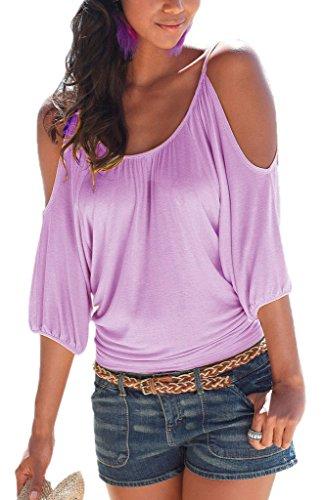 Smile YKK Sommer Schulterfrei Damen Mode Kurzes Aermel Schluppenbluse Oberteil Tunika Shirt Lila