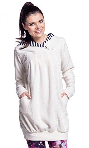 Zeta Ville - Damen Diskretes Still-Sweatshirt Kapuze Seitenreißverschluss - 311c Ekrü
