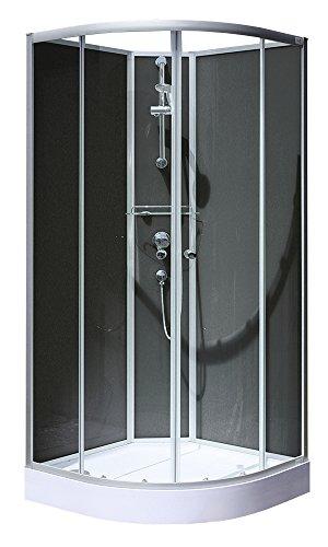 Schulte Fertigdusche Komplettdusche Runddusche Radius 550 Glas Rückwände schwarz Verona,