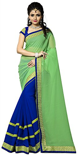 Vedant Vastram Women's Georgette Embroidered Saree With Blouse Piece (Green & Blue...