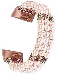 HROIJSL Kompatibel mit Fitbit Charging 3 Ersatzuhrenarmband Perlenarmband Schmuckarmband Für ersetzen Sie das Uhrenarmband Glattleder Lederarmband Echtleder Uhrenarmband Herren