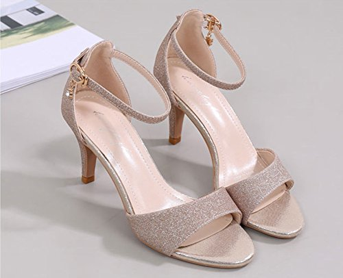 Wealsex damen stiletto sandalen peep toe high heels Gold