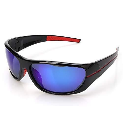 ZHIYIJIA Fahrradbrille, PolarisierteSonnenbrilleSport Bruchsicher für HerrenDamen Wandern Jagd Mountainbike Reiten-blau