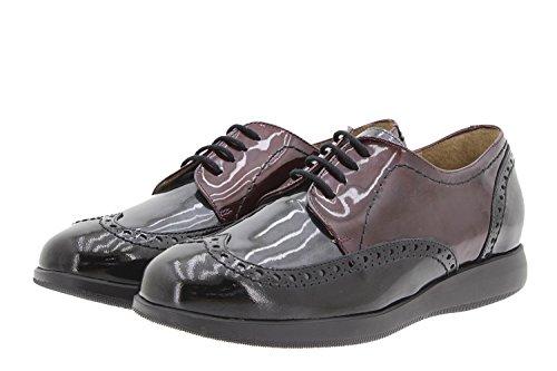 Scarpe donna comfort pelle PieSanto 9630 scarpe con condoncino comfort larghezza speciale Negro-Gris-Burdeos