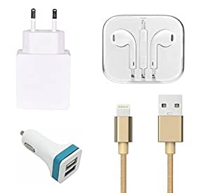 High Quality 2.0 Amp USB Charger, Golden USB Cable, 3.5mm Jack Handsfree, 2 J...