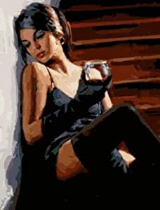 Erwachsene Leinwand /Ölgem/älde Weinglas Rahmenlos Malen Nach Zahlen DIY /Ölgem/älde Bunte Lion Leinwand Druck Wand Kunst Home Dekoration 40X50Cm(Rahmenlos)