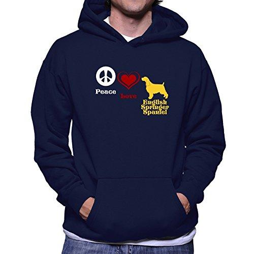 Teeburon Peace, Love, English Springer Spaniel Hoodie