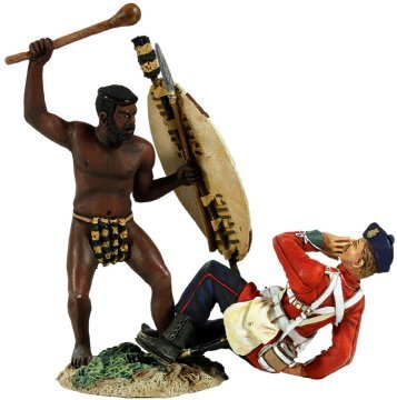 Zulu War W Britain Zulu Warrior Attacking British 24th Foot 1/30 20148 Collectible Toy Soldiers Hand Painted Metal Figure Thomas Gunn Collectors Showcase Type
