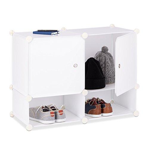 Relaxdays Regalsystem 4 Fächer, Standregal Kunststoff, Steckregal mit Türen, Badregal, HxBxT: 56 x 75 x 37 cm, weiß 2 Tür Bücherregal