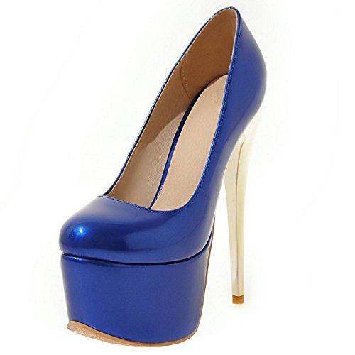 COOLCEPT Femmes Mode Talon Aiguille Plate-forme Talon hauts Escarpins for Party Bleu