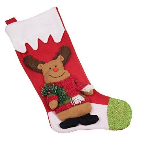 Elch aus Plüsch mit Pullover Weihnachtsstrumpf-49,5cm-Rot, Weiß, und Grün (The Anzug Rudolph)
