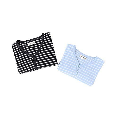 HOUYAZHAN Frühling und Sommer Baumwolle Paar Pyjamas Langarm Anzug Damen gestreift einfache lässige Home Service (Farbe : Wowens, Size : M) -