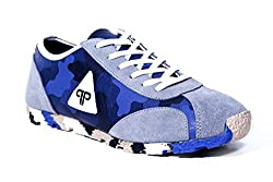 Provogue Mens Grey Blue Canvas Sneakers - 7 UK