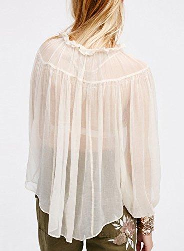 ACHICGIRL Women's Fashion Loose Long Sleeve Sheer Blouse white