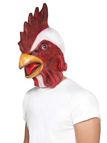 Smiffys Unisex Hähnchen Gesichtsmaske, Ganzer Kopf, Latex, One Size, Weiß und Rot, 44596 (Machen Tierisch-halloween-kostüme Einfach)