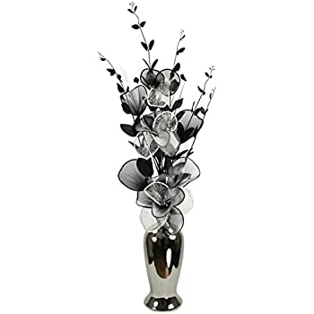 Silver Vase with Black and White Artificial Flowers, Ornaments for on florist books, florist bowls, florist centerpieces, florist containers, florist tools,