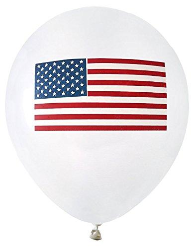 8 globos blancos USA con bandera (23 cm)