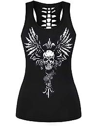 Morbuy Mujeres Deporte Camiseta de Tirantes, Gótica Halloween Sin Mangas diseño de Calaveras Tanque Superior