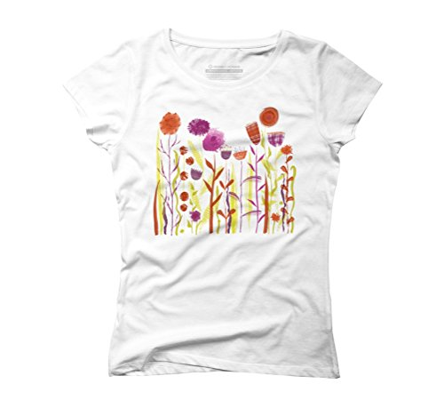 Mixed Up Meadow Women's Graphic T-Shirt - Design By Humans White
